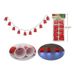 Red Beer Cup Party LED Stringlight Set - 10/pk ~ Battery Operated