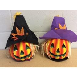 """Halloween Light-Up Pumpkin w/Scarecrow Hat ~ 14""""D"""