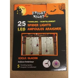 Halloween LED Indoor Twinkling Spider Icicle Light Set ~ 25 per pack