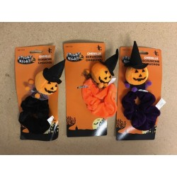 Halloween Chenille Hair Scunchie w/Pumpkin Character