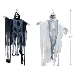 """Halloween LED Animated Shaking Skeleton Reaper ~ 24"""" Long"""