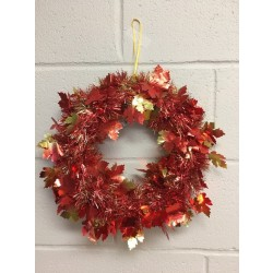 "Harvest 2-Tone Embossed Maple Leaf Tinsel Wreath ~ 14""D"