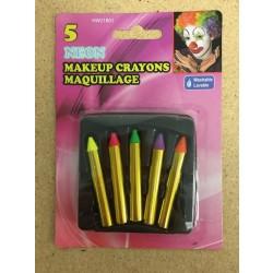 Halloween Neon No Mess Make Up Crayons ~ 5 per pack