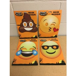 "Halloween Printed Pleather Emoji Masks ~ 7.75"""