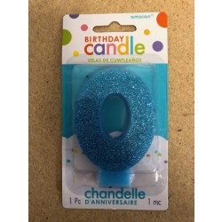 Numeral Glitter Candle ~ #0 Blue