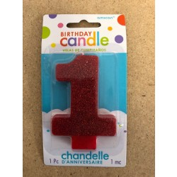 Numeral Glitter Candle ~ #1 Red