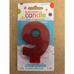 Numeral Glitter Candle ~ #9 Red