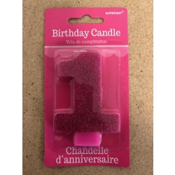 Numeral Glitter Candle ~ #1 Pink
