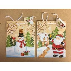 Medium Christmas Gift Bags ~ Santa/Snowman w/Glitter