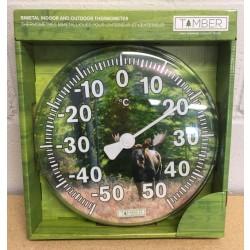 "In/Outdoor Bi-Metal Moose Thermometer ~ 11.5""D"