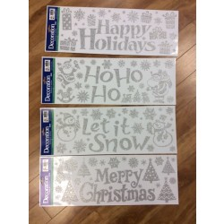 Christmas Glitter Window Clings ~ 4 assorted