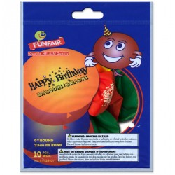 "9"" Round Balloons - Happy Birthday ~ 10 per pack"