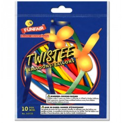 Twisted Balloons ~ Assorted Colors ~ 10 per pack