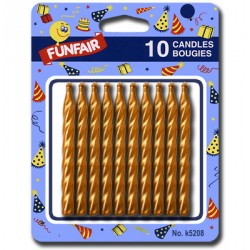 Birthday Candle - Gold ~ 10 per pack