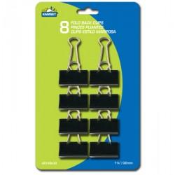 "Mini Black Fold Back Clips - 1-1/4"" ~ 8 per pack"