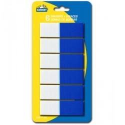 Erasers - White/Blue ~ 6 per pack