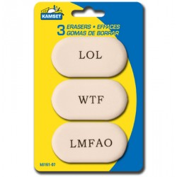 Erasers - white w/sayings ~ 3 per pack