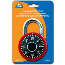 Combination Padlock - Assorted Colors ~ 50mm