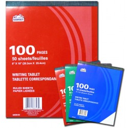 """Writing Tablet - 8"""" x 10"""" Ruled ~ 50 sheets"""