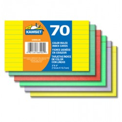 Index Cards - Ruled - Colored ~ 70 per pack