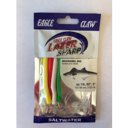 Eagle Claw Mackerel Multi Color Tube Rig, 4/string