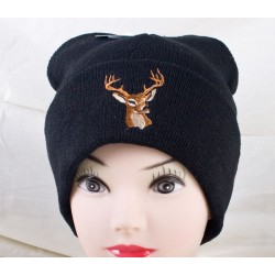 Black Thinsulate Lined Toque w/Embroidered Deer