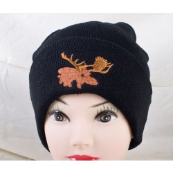 Black Thinsulate Lined Toque w/Embroidered Moose