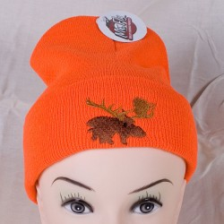 Fluorescent Orange Toque w/Thinsulate Lining & Moose Embroidery
