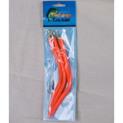 Rubber Cod Worm w/12/0 Hook - Fluorescent Orange ~ 3 per pack