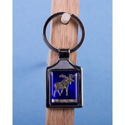 New Brunswick Moose Keychain w/Glossy Blue Background