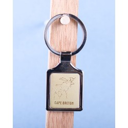 Cape Breton Moose Keychain w/Gold Background