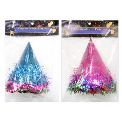 New Year's Party Foil Hat with Tinsel ~ 6 per pack
