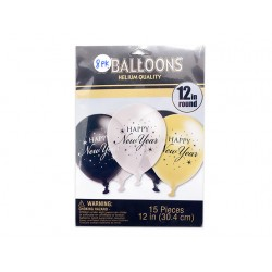 "New Year's 12"" Round Balloons ~ 8 per pack"