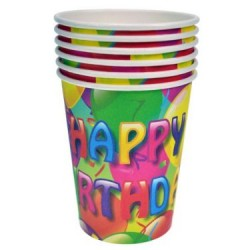 Paper Cups w/Happy Birthday - 9oz ~ 6 per pack
