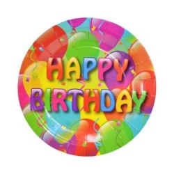 "Paper Plates w/Happy Birthday - 7"" ~ 6 per pack"