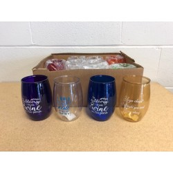 Plastic Stemless Wine Glasses with Sayings