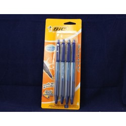 BIC Retractable Soft Grip Pens - Blue Ink ~ 4 per pack