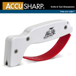 AccuSharp Knife & Tool Sharpener ~ White w/Red Finger Guard