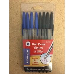 Selectum Ball Pens, Medium Tip - Assorted Ink ~ 8 per pack