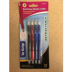 Le Grip Retractable Ball Pens, 1.0mm tip - Assorted Ink ~ 4/per pack
