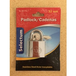 Stainless Steel Padlock with 32mm Shackle + 3 Keys