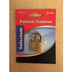 Brass Padlock 25mm + 3 Keys