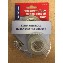 Selectum Transparent Tape w/Cutter ~ 18mm x 25m with Bonus Roll