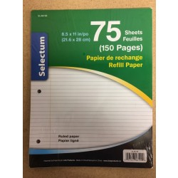 Selectum Ruled Refill Sheets - Letter Size ~ 75 / sheets