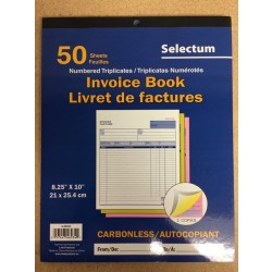 Selectum Tri Carbonless Invoice Book ~ 50 sheets