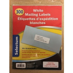 Selectum White Mailing Labels ~ 300 labels