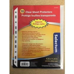 Selectum Clear Sheet Protectors ~ 10 sheets