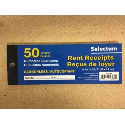 Selectum Duplicate Carbonless Rent Receipt Book ~ 50 pages