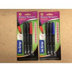 Selectum Fine Point Permanent Markers, Black x 2 + color~ 3 per pack