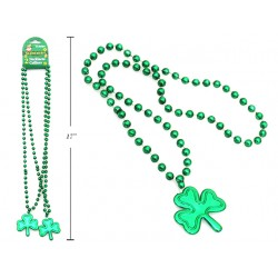 "St. Patrick's Shamrock Beaded Necklace - 32""L ~ 2 per pack"